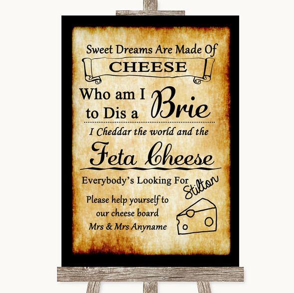 Western Cheese Board Song Personalised Wedding Sign