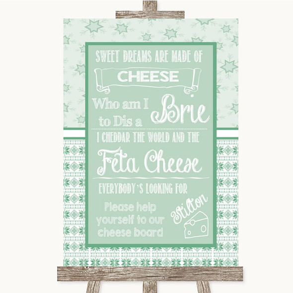Winter Green Cheese Board Song Personalised Wedding Sign