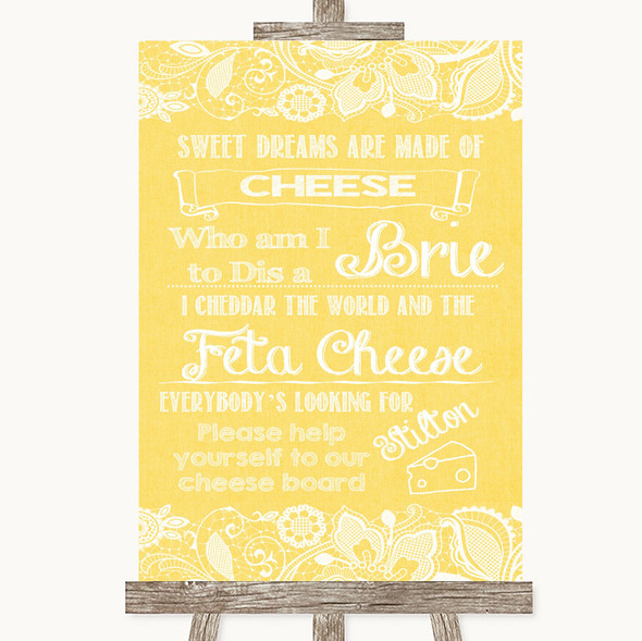 Yellow Burlap & Lace Cheese Board Song Personalised Wedding Sign