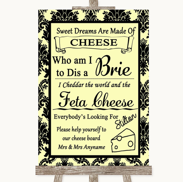 Yellow Damask Cheese Board Song Personalised Wedding Sign