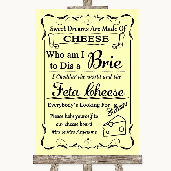 Yellow Cheese Board Song Personalised Wedding Sign