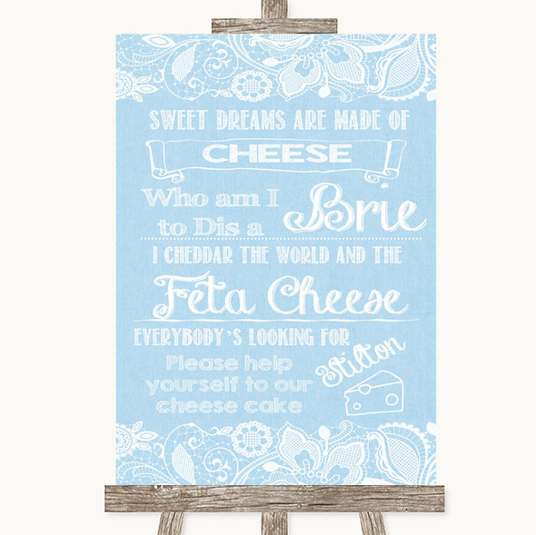 Blue Burlap & Lace Cheesecake Cheese Song Personalised Wedding Sign