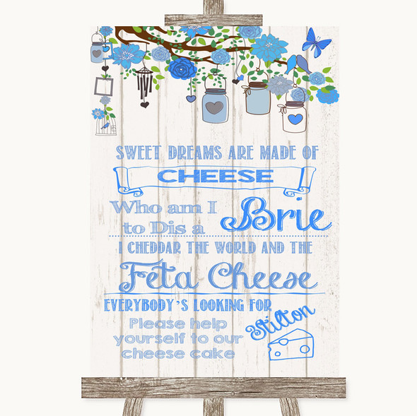 Blue Rustic Wood Cheesecake Cheese Song Personalised Wedding Sign