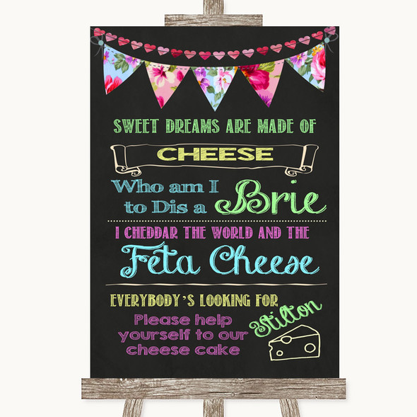 Bright Bunting Chalk Cheesecake Cheese Song Personalised Wedding Sign