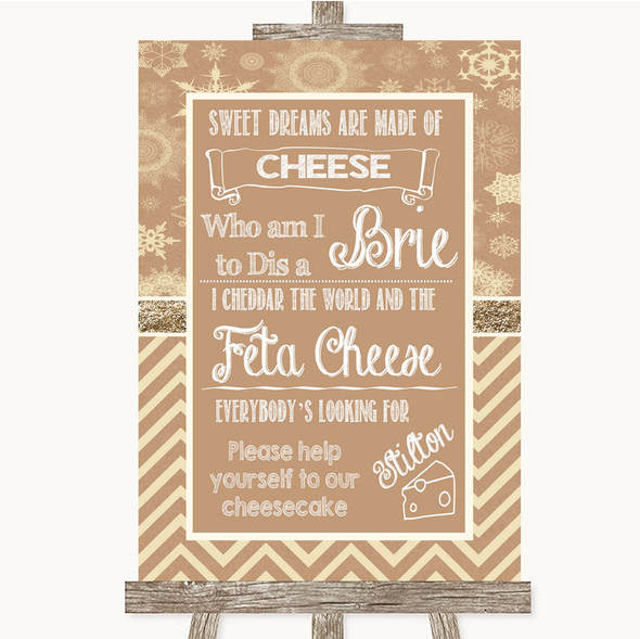 Brown Winter Cheesecake Cheese Song Personalised Wedding Sign