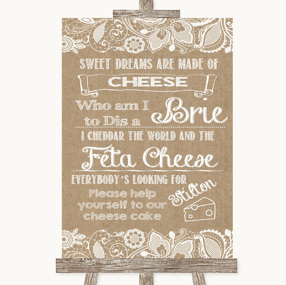 Burlap & Lace Cheesecake Cheese Song Personalised Wedding Sign