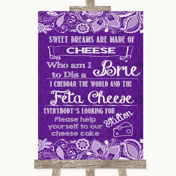 Purple Burlap & Lace Cheesecake Cheese Song Personalised Wedding Sign