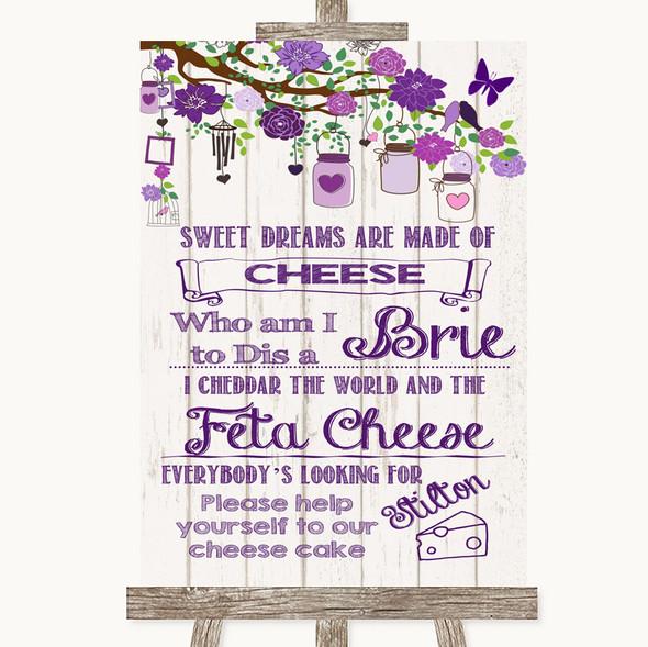 Purple Rustic Wood Cheesecake Cheese Song Personalised Wedding Sign