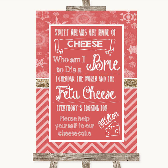 Red Winter Cheesecake Cheese Song Personalised Wedding Sign
