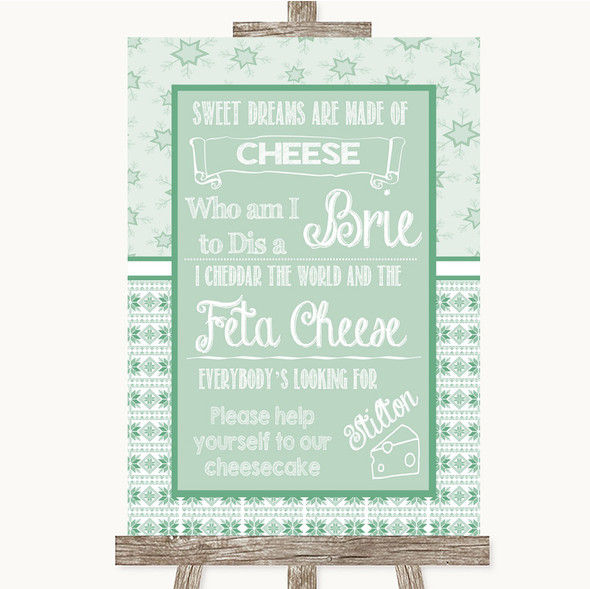 Winter Green Cheesecake Cheese Song Personalised Wedding Sign
