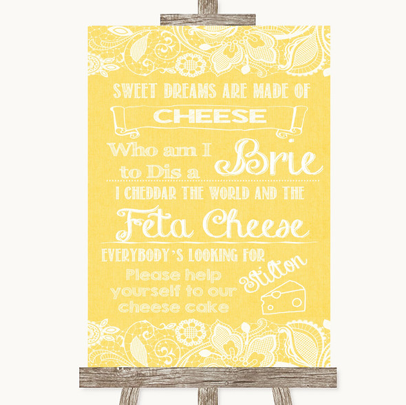 Yellow Burlap & Lace Cheesecake Cheese Song Personalised Wedding Sign