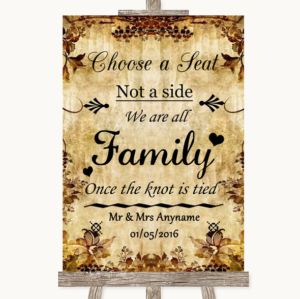 Autumn Vintage Choose A Seat We Are All Family Personalised Wedding Sign