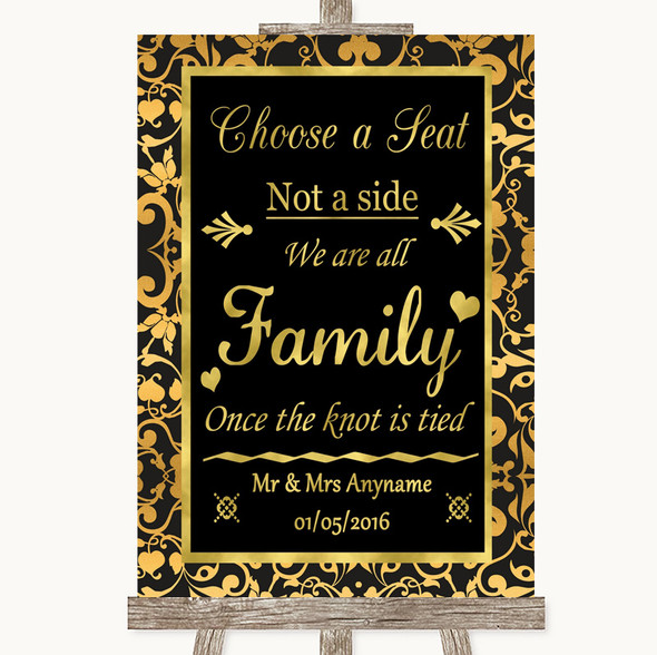 Black & Gold Damask Choose A Seat We Are All Family Personalised Wedding Sign