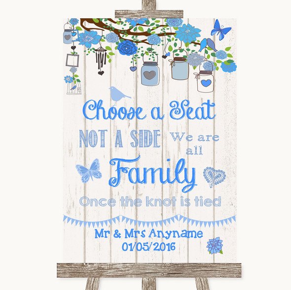 Blue Rustic Wood Choose A Seat We Are All Family Personalised Wedding Sign