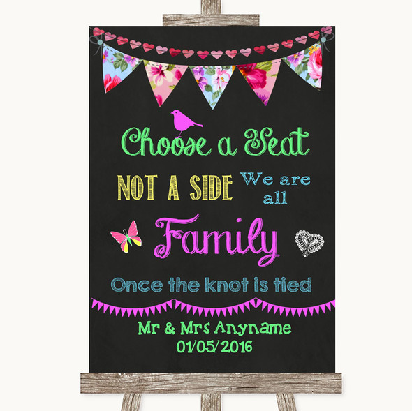 Bright Bunting Chalk Choose A Seat We Are All Family Personalised Wedding Sign