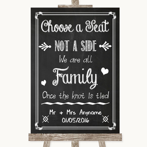 Chalk Sketch Choose A Seat We Are All Family Personalised Wedding Sign