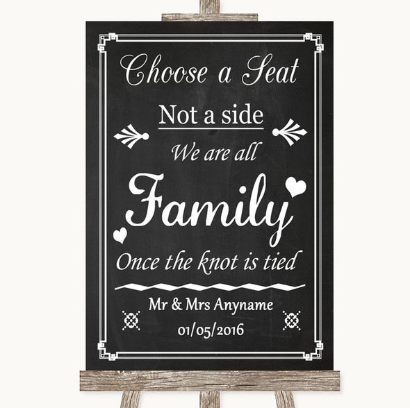 Chalk Style Choose A Seat We Are All Family Personalised Wedding Sign