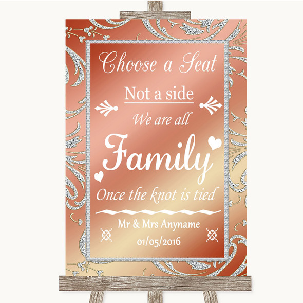 Coral Pink Choose A Seat We Are All Family Personalised Wedding Sign
