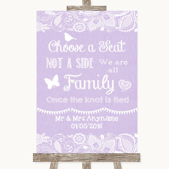 Lilac Burlap & Lace Choose A Seat We Are All Family Personalised Wedding Sign