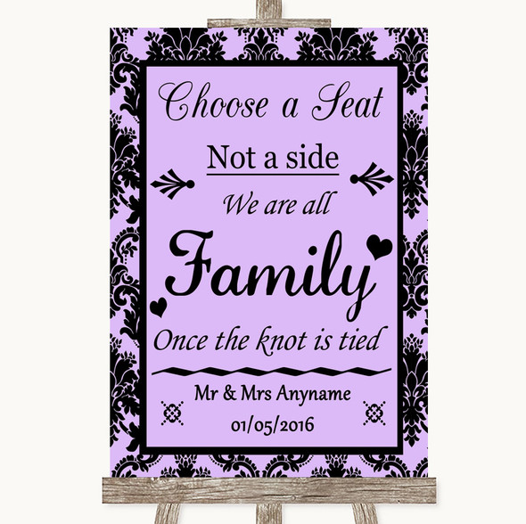 Lilac Damask Choose A Seat We Are All Family Personalised Wedding Sign