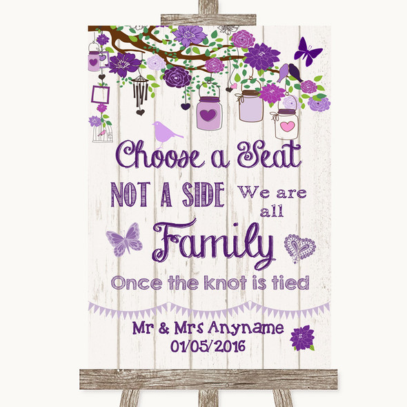 Purple Rustic Wood Choose A Seat We Are All Family Personalised Wedding Sign