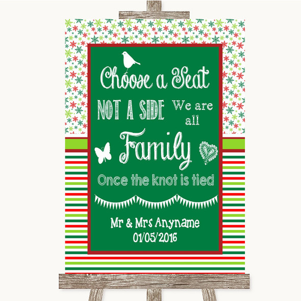 Red & Green Winter Choose A Seat We Are All Family Personalised Wedding Sign