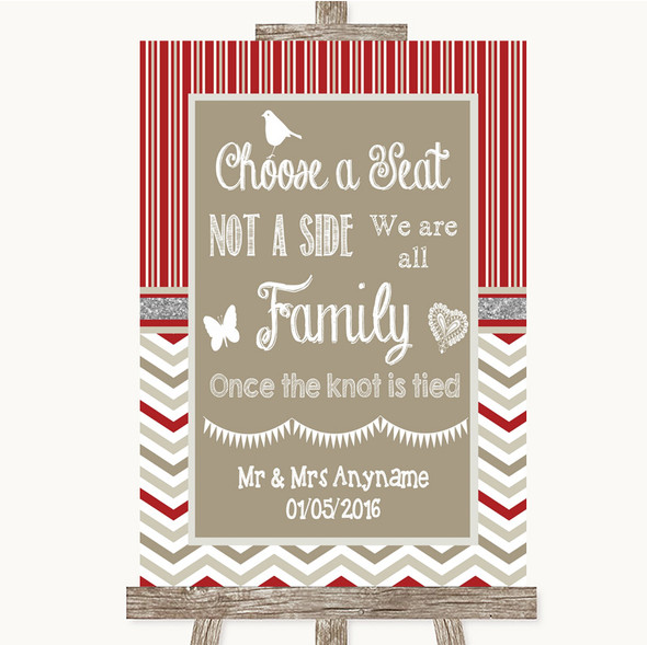 Red & Grey Winter Choose A Seat We Are All Family Personalised Wedding Sign