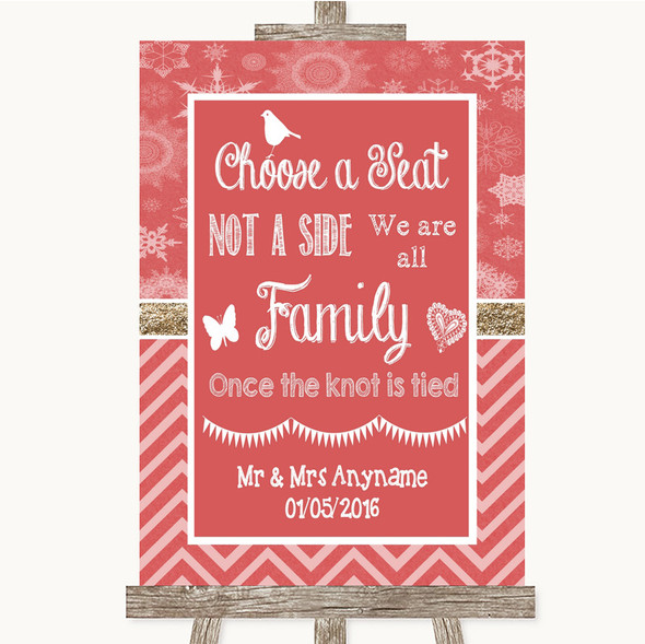 Red Winter Choose A Seat We Are All Family Personalised Wedding Sign