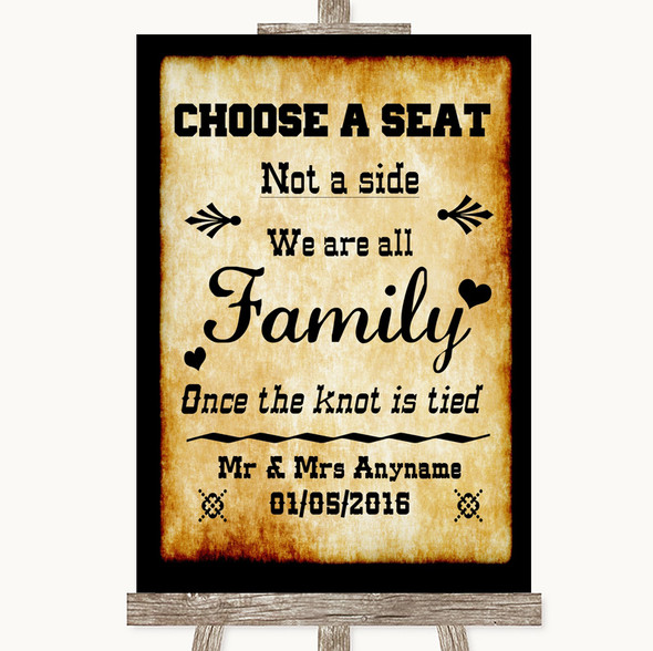 Western Choose A Seat We Are All Family Personalised Wedding Sign
