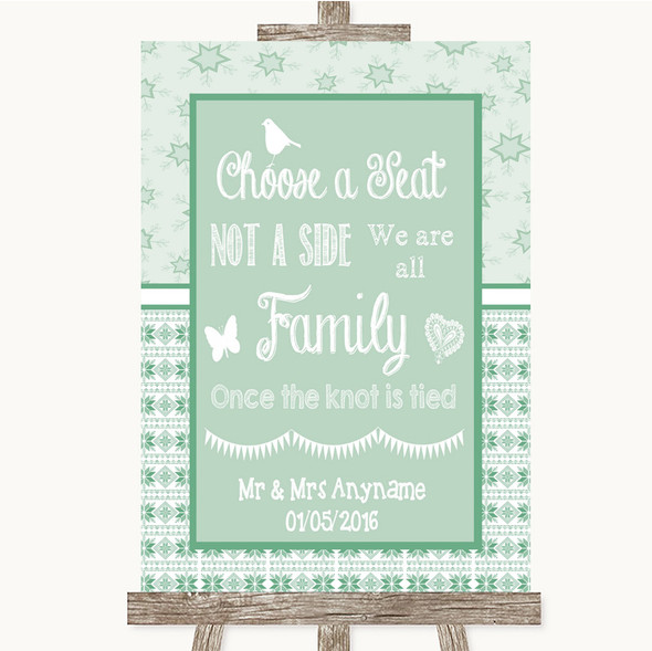 Winter Green Choose A Seat We Are All Family Personalised Wedding Sign