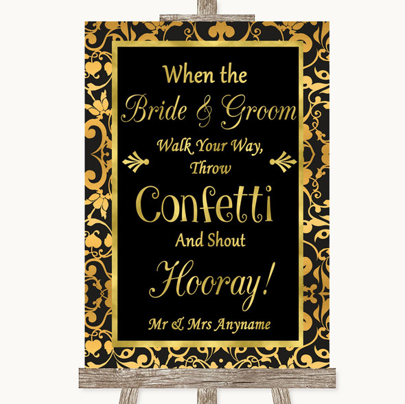 Black & Gold Damask Confetti Personalised Wedding Sign