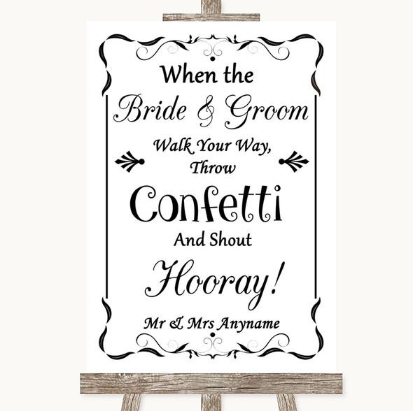 Black & White Confetti Personalised Wedding Sign
