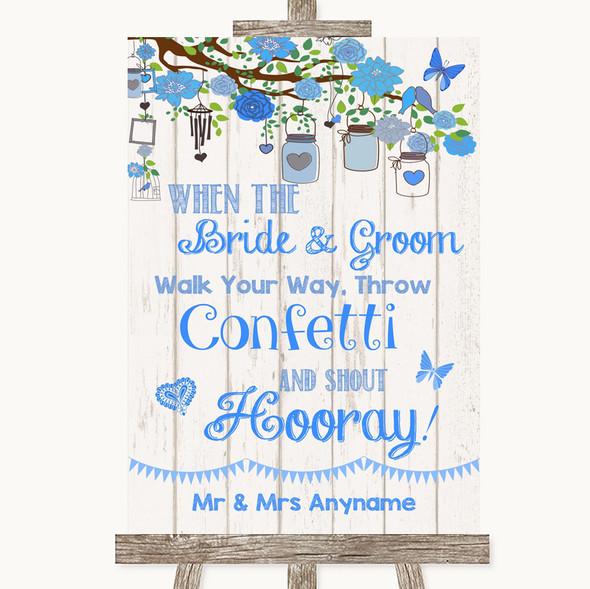 Blue Rustic Wood Confetti Personalised Wedding Sign