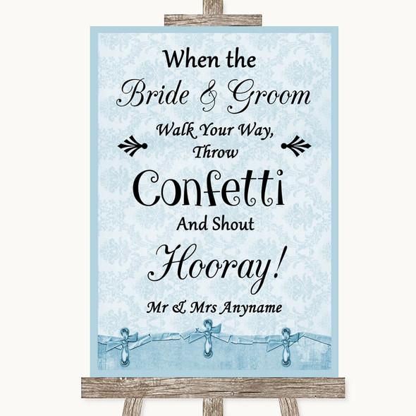 Blue Shabby Chic Confetti Personalised Wedding Sign