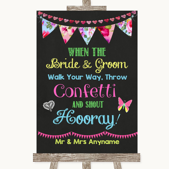 Bright Bunting Chalk Confetti Personalised Wedding Sign