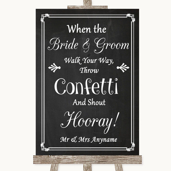 Chalk Style Confetti Personalised Wedding Sign