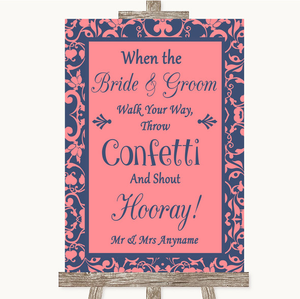 Coral Pink & Blue Confetti Personalised Wedding Sign
