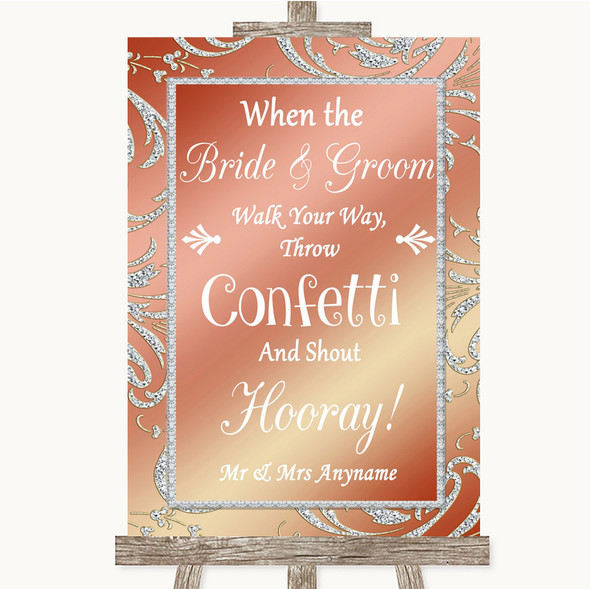 Coral Pink Confetti Personalised Wedding Sign