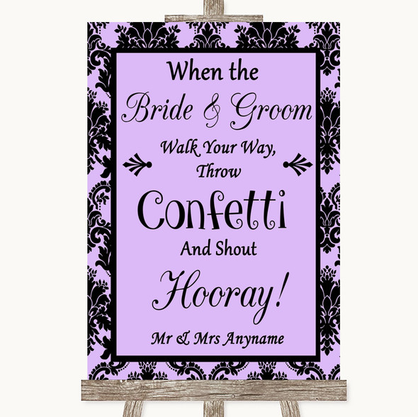 Lilac Damask Confetti Personalised Wedding Sign