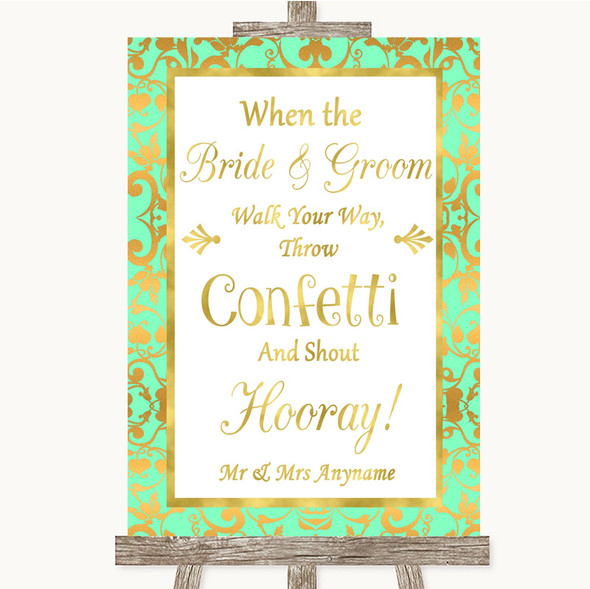 Mint Green & Gold Confetti Personalised Wedding Sign