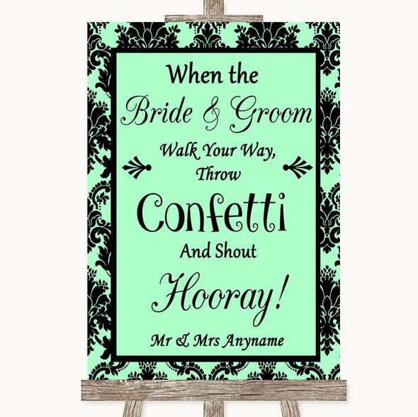 Mint Green Damask Confetti Personalised Wedding Sign