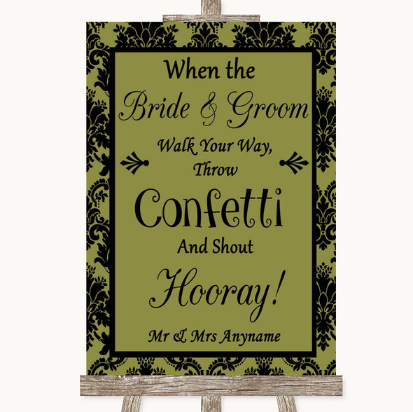 Olive Green Damask Confetti Personalised Wedding Sign