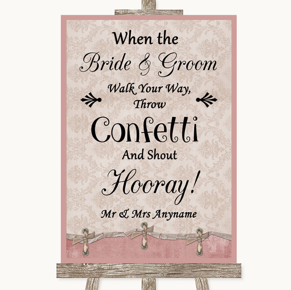 Pink Shabby Chic Confetti Personalised Wedding Sign