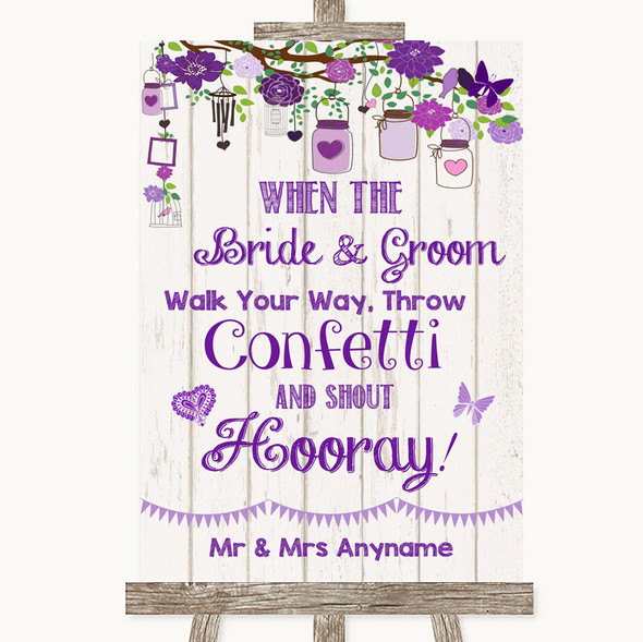 Purple Rustic Wood Confetti Personalised Wedding Sign