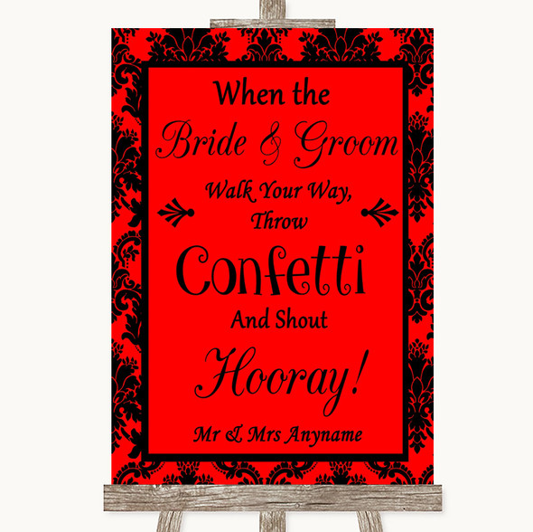 Red Damask Confetti Personalised Wedding Sign