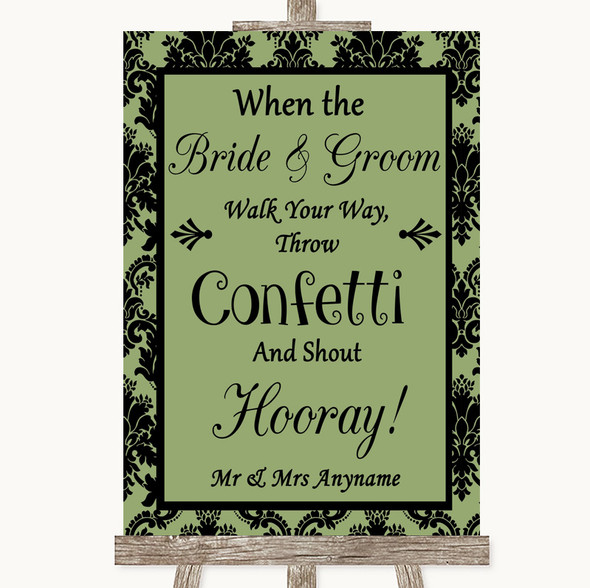 Sage Green Damask Confetti Personalised Wedding Sign