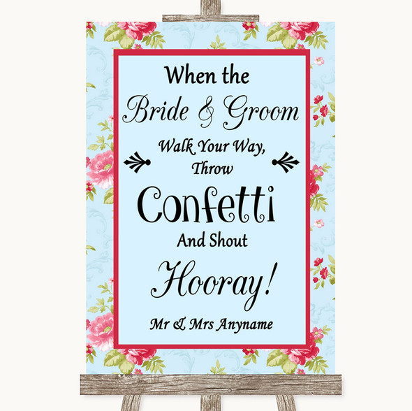 Shabby Chic Floral Confetti Personalised Wedding Sign