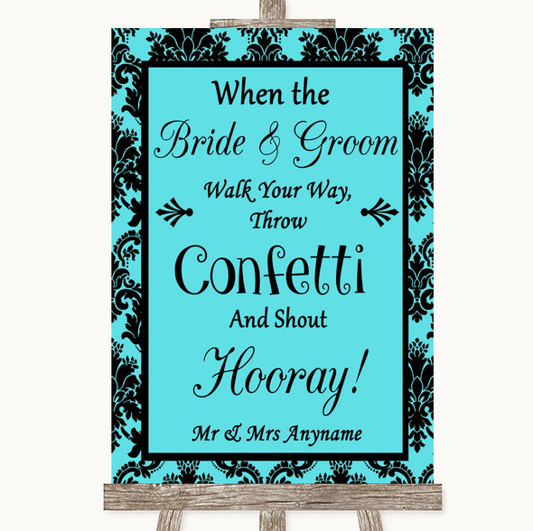 Tiffany Blue Damask Confetti Personalised Wedding Sign
