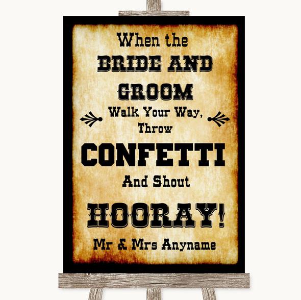 Western Confetti Personalised Wedding Sign