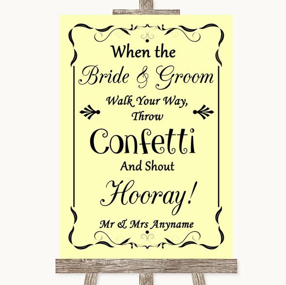 Yellow Confetti Personalised Wedding Sign